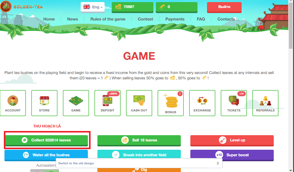Thu hoạch vườn game golden team - trồng cây kiếm tiền